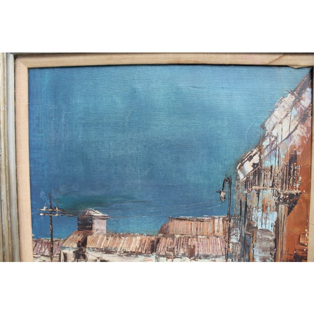 Expressionist Oil on Canvas Cityscape Painting For Sale - Image 5 of 9