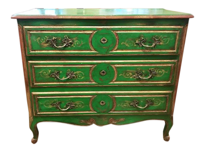 Antique Painted Green Chest Of Drawers