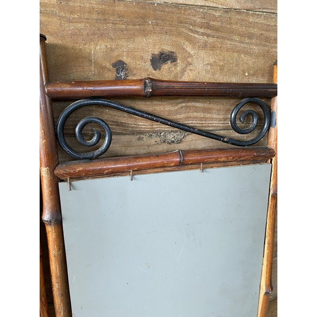 Brown Antique French Bi-Fold Bamboo Mirror For Sale - Image 8 of 13