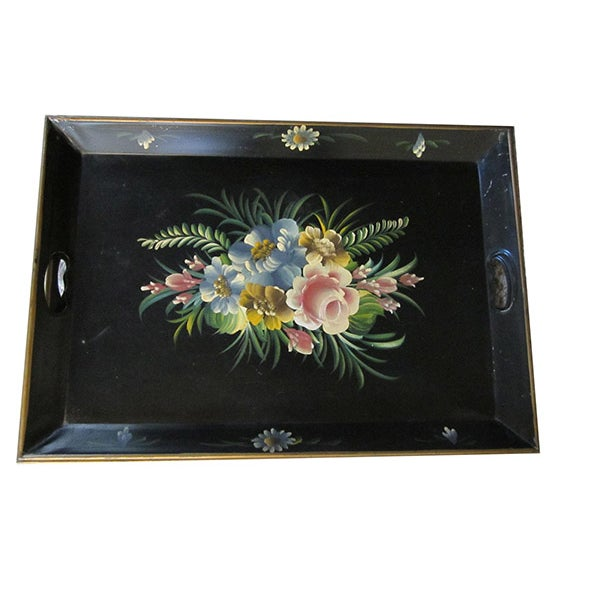 French Tole Ware Serving Tray - Image 1 of 8