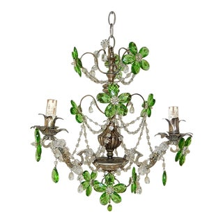French Murano Green Drops Macaroni Swags Flowers Silver Chandelier, Circa 1920 For Sale