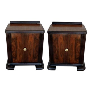 Art Deco Side Cabinets or Nightstands With Ebonized Base - a Pair For Sale