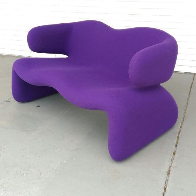 "1966 Olivier Mourgue ""Djinn"" Purple Wool Upholstered Sofa For Sale - Image 12 of 13"