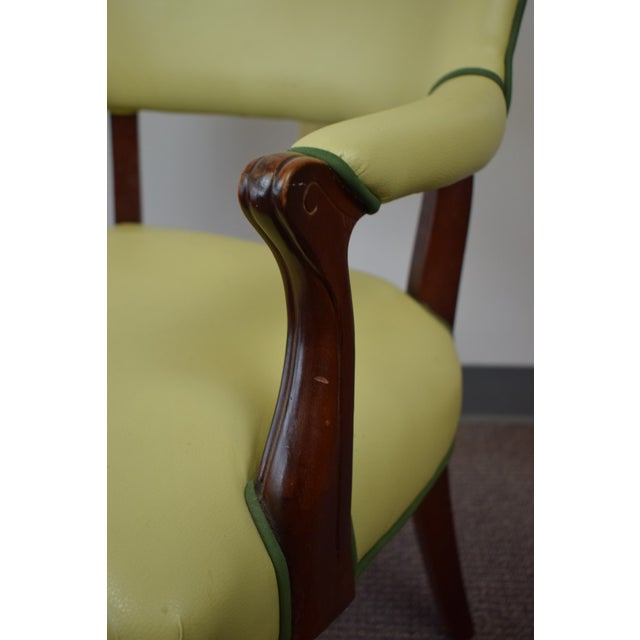 Animal Skin Elegant Set of (4) Celedon Green Leather W Hunter Green Piping Upholstered Bergere Chairs For Sale - Image 7 of 10