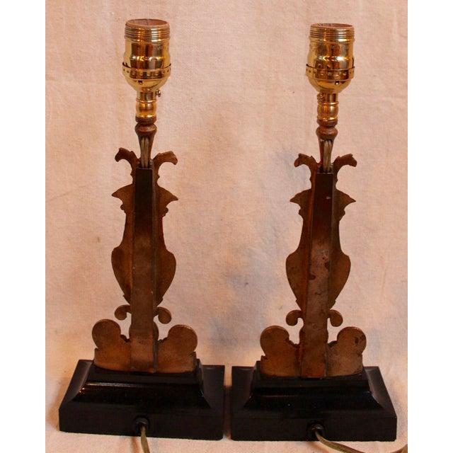 Vintage Bronze & Steel Urn Lamps - Pair - Image 5 of 5