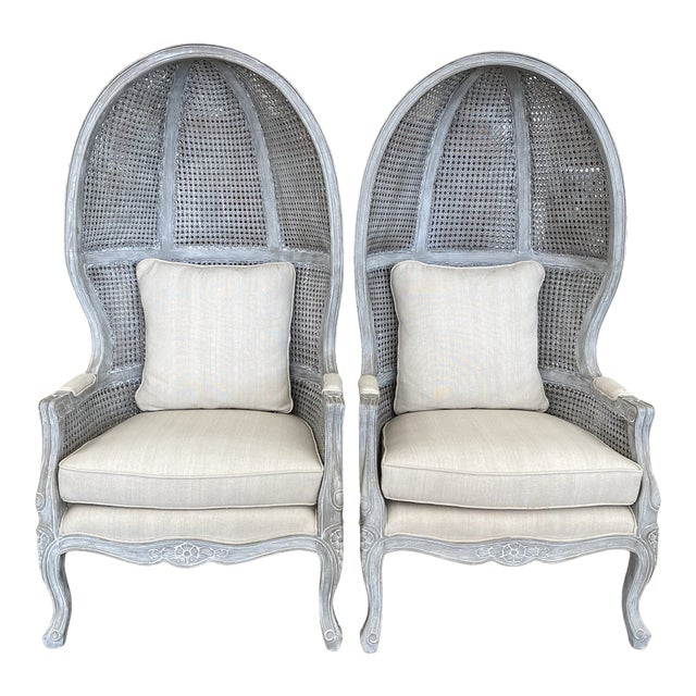 French Balloon Caned Porters Canopy Chairs - a Pair For Sale