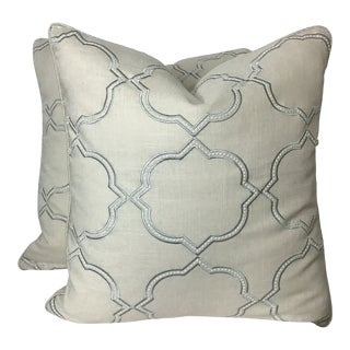 "Transitional 22""x 22"" Embroidered Linen Cotton Pillows by Fabricut - a Pair For Sale"