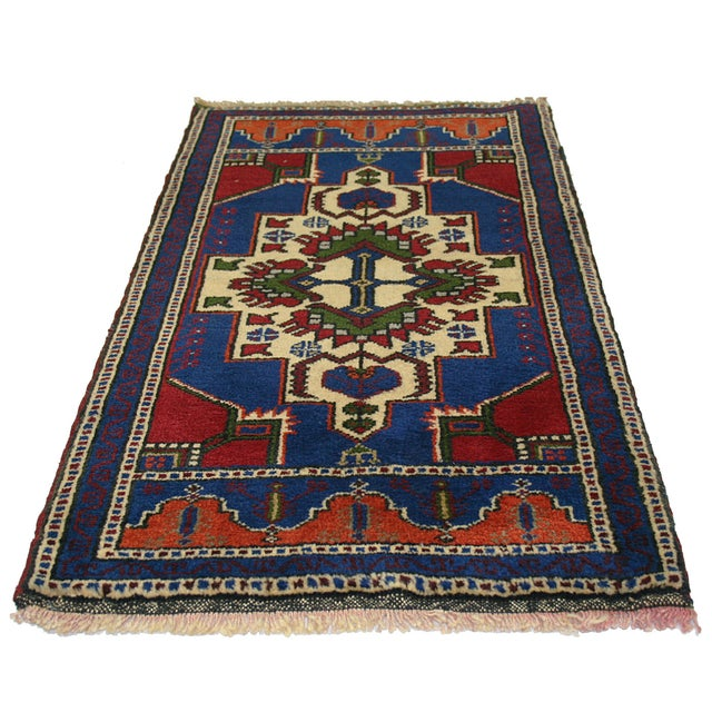 "Vintage Cobalt & Red Kurdish Carpet - 1'10"" x 3'4"" - Image 2 of 2"