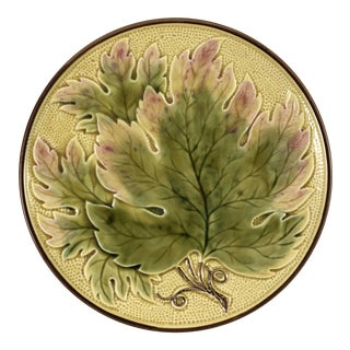 Majolica Leaf Stem Plate For Sale
