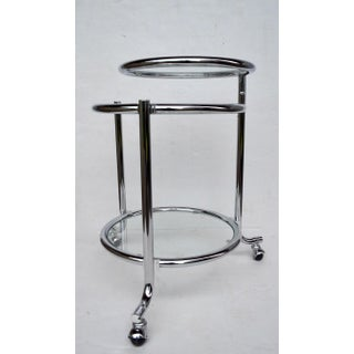 Rolling Chrome Bar Serving Cart With Chrome Rings Preview
