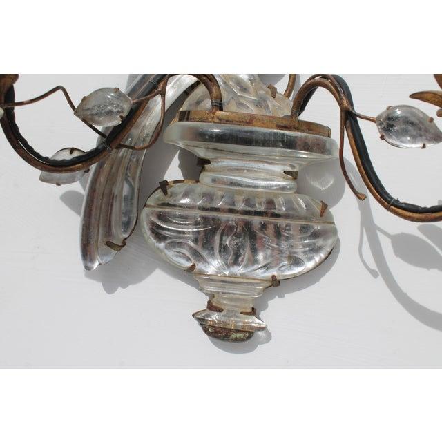 Maison Baguès French Art Deco C1920s Authentic Maison Bagues Bronze Framed Crystal Parrot Sconces For Sale - Image 4 of 11