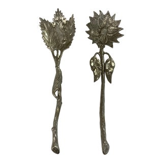 1960s Aluminum Flower and Leaf Shaped Salad Server Fork and Spoon - Set of 2 For Sale