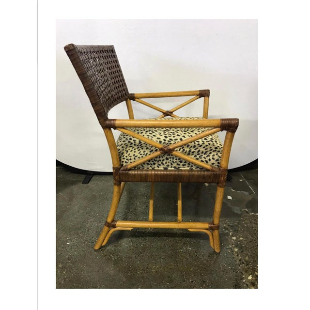 Hickory White Woven Leather and Bamboo Dining Chairs With Round Wood Table Set For Sale - Image 10 of 13