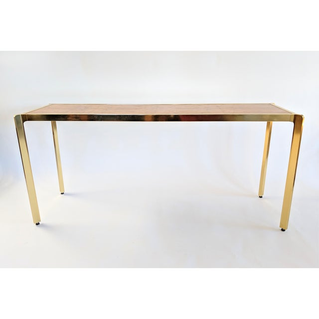 Brass & Burlwood Console Table For Sale - Image 4 of 13