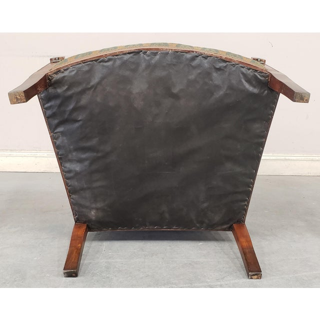 Metal Early 20th Century French Country Provincial Upholstered Maple Wood Wingback Armchair For Sale - Image 7 of 9