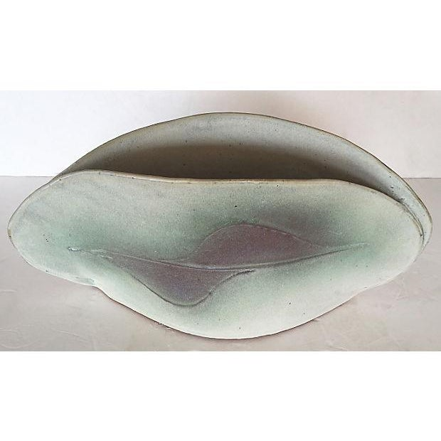 Mid-Century Modern White & Green Art Pottery Glazed Vase For Sale - Image 3 of 7