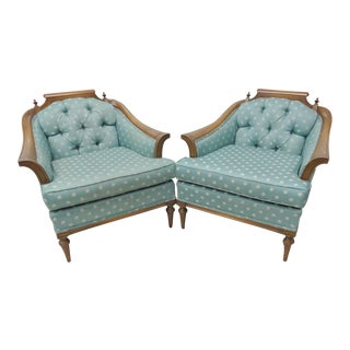 Mid-Century Modern Blue Lounge Chairs - A Pair For Sale
