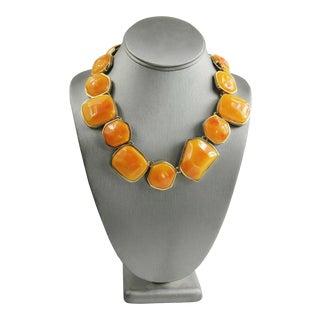80s 90s Kjl Kenneth Jay Lane Orange Resin Statement Necklace For Sale