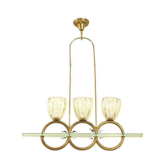 """Italian 1940s Three """"Rings"""" Chandelier by Barovier Et Toso For Sale"""