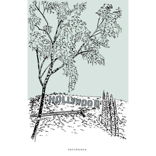 Hollywood Sign Sketch Original Framed Illustration