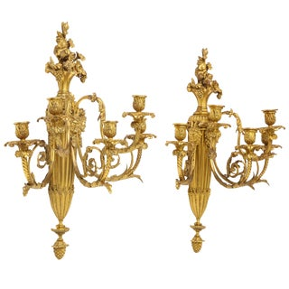 Very Fine Pair of Louis XVI Style French Ormolu Bronze Wall Appliques, Sconces For Sale