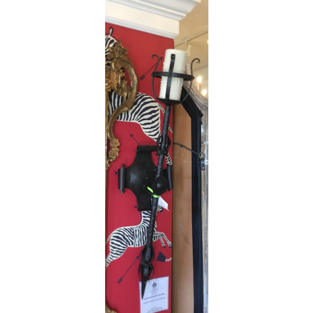 Gothic Paul Ferrante Renaissance Style Iron Torchere Wall Sconces - a Pair For Sale - Image 3 of 5