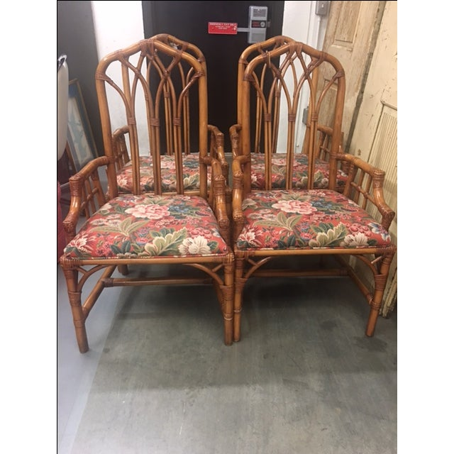 Henry Link Cathedral Rattan Chairs - Set of 4 - Image 2 of 5