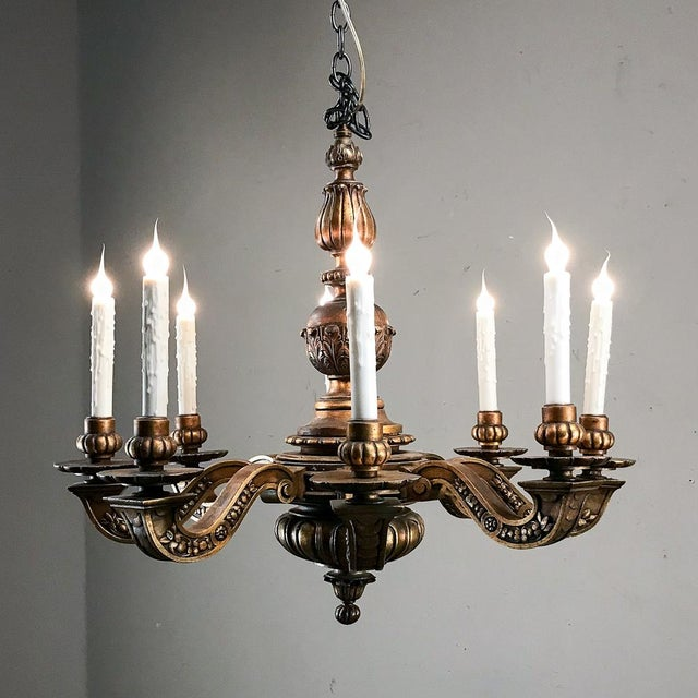 Antique Italian Giltwood Chandelier For Sale - Image 12 of 13