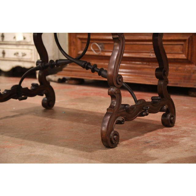 Brown 19th Century Spanish Carved Walnut and Wrought Iron Console Center Table For Sale - Image 8 of 13