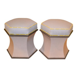 Modern Woodbridge Furniture Hexagonal Upholstered Ottomans - a Pair