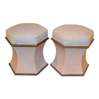 Modern Woodbridge Furniture Hexagonal Upholstered Ottomans - a Pair For Sale