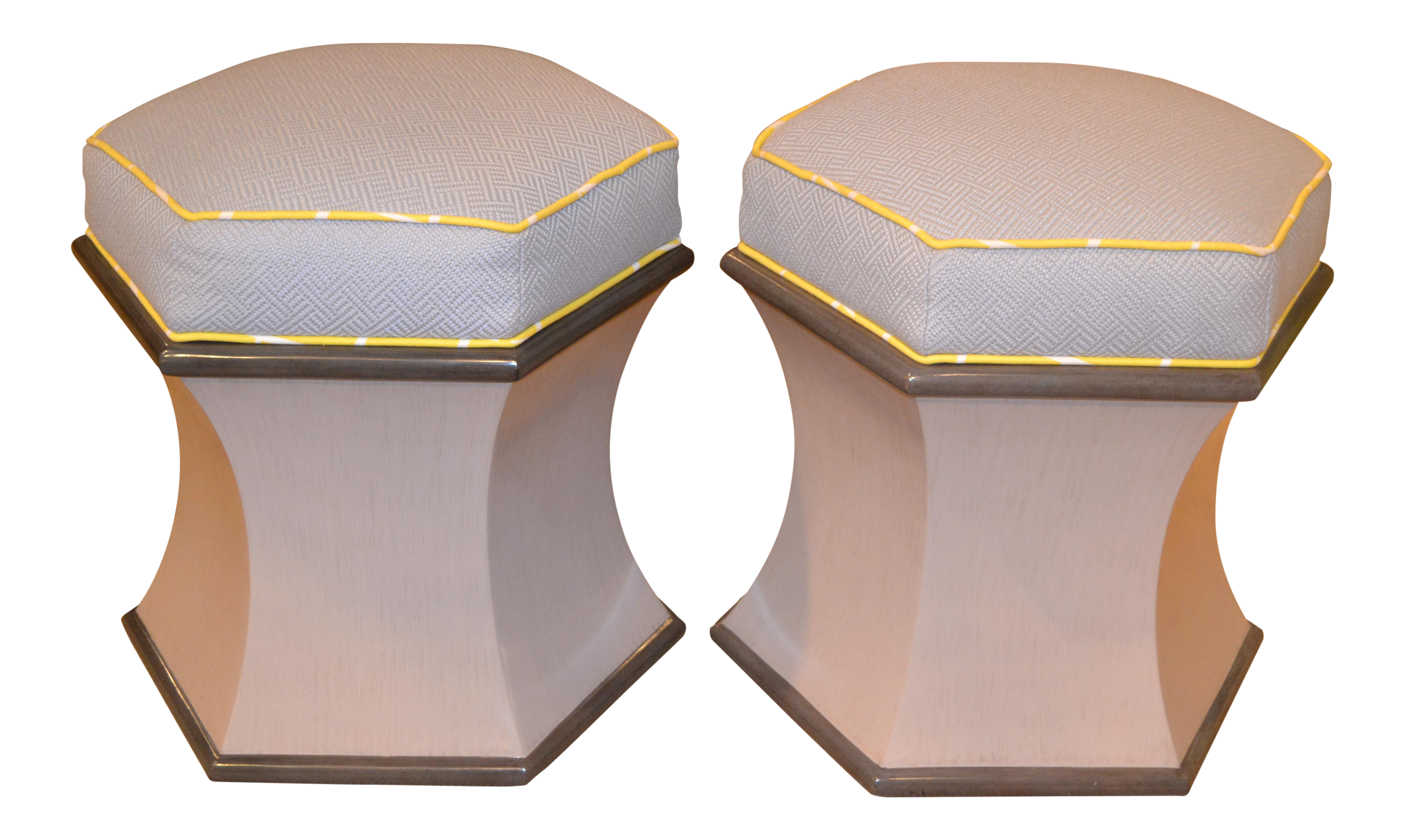 Modern Woodbridge Furniture Hexagonal Upholstered Ottomans   A Pair For Sale