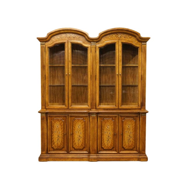 """20th Century Italian Stanley Furniture 71"""" Buffet with Lighted Display China Cabinet For Sale"""
