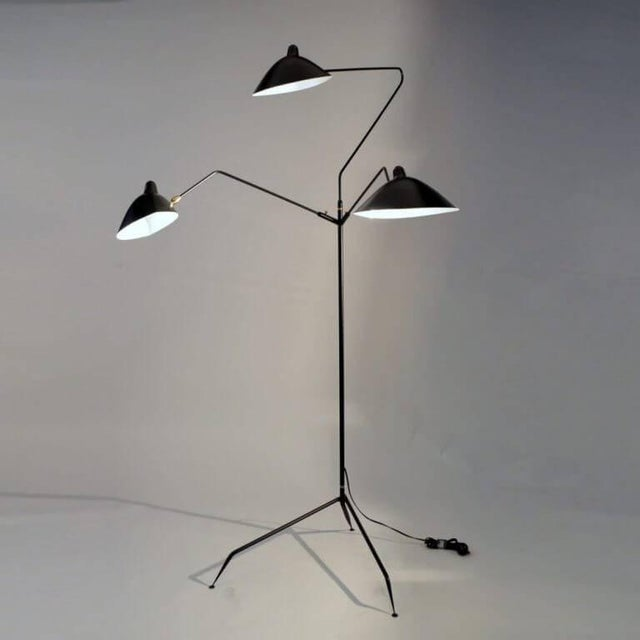 Serge Mouille Standing Lamp With Three Arms in Black by Serge Mouille For Sale - Image 4 of 8