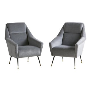 Pair of Italian Mid Century Lounge Chairs in the Style of Marco Zanuso For Sale