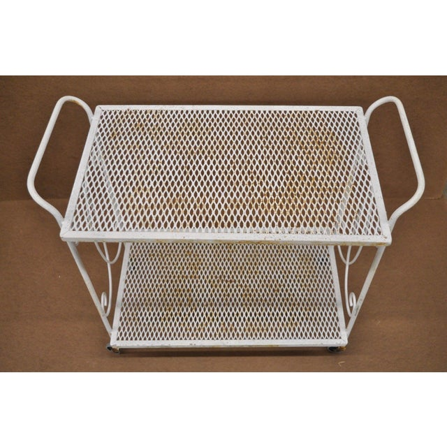 Vintage Wrought Iron Metal Mesh Patio Tea Cart For Sale In Philadelphia - Image 6 of 12