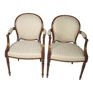 1940s Vintage Joseph Gerte French Style Armchairs- A Pair For Sale