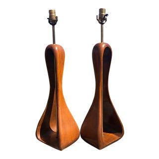 Vintage Danish Modern Sculptural Pearsall Kagan Modeline Lamps - a Pair For Sale