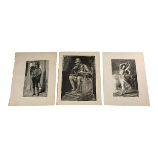 1892 Antique Characters From the Hunchback of Notre Dame Prints - Set of 3 For Sale