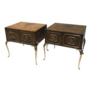 Pair of Mastercraft Burl Side Tables For Sale
