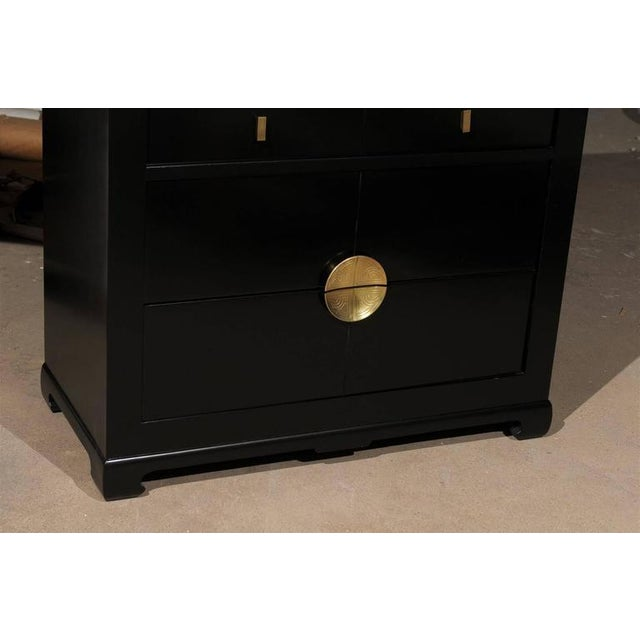 Restored Modern Mahogany Commode by Albert of Shelbyville in Black Lacquer For Sale In Atlanta - Image 6 of 10
