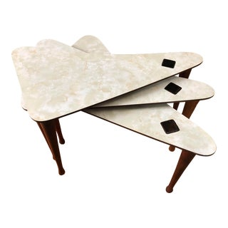 Mid Century Nesting Tables Boomerang Motif For Sale