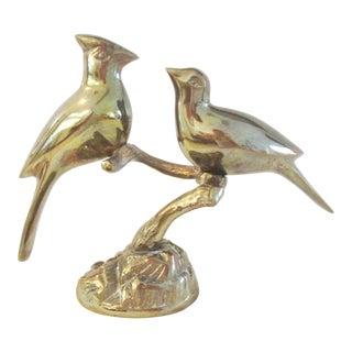Vintage Polished Brass Figural Cardinals