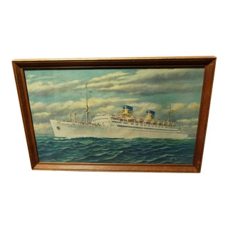 Vintage Print of Atlantic Cruiseliner