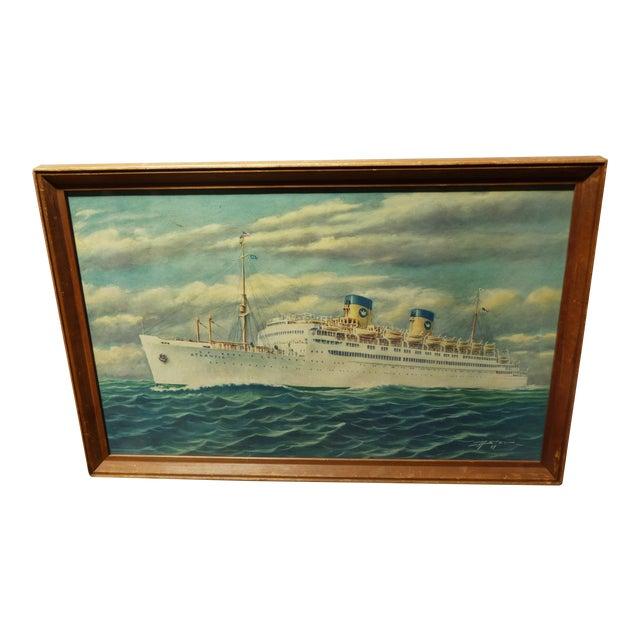 Vintage Print of Atlantic Cruiseliner - Image 1 of 7