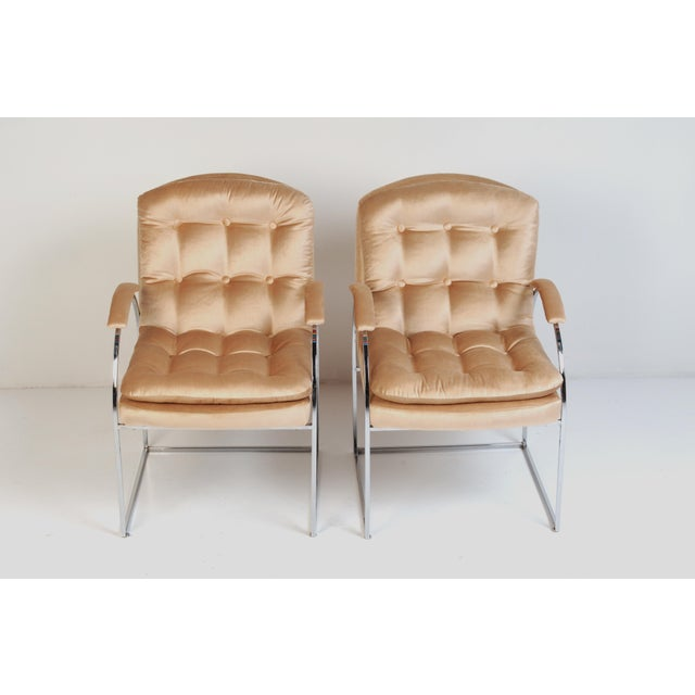 Late 20th Century 20th Century Milo Baughman Style Blush Velvet Chrome Chairs - a Pair For Sale - Image 5 of 7