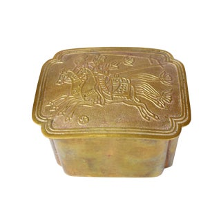Vintage Polo Game Design Solid Brass Hand Hammered Trinket Accessories Box For Sale