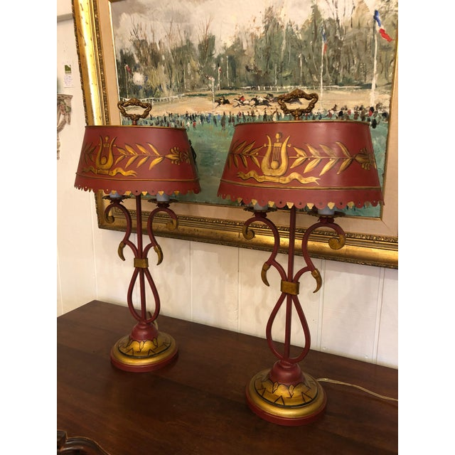 Vintage Deep Red and Gold Tole Table Lamps With Lyre Decoration and Shades - a Pair For Sale - Image 11 of 11