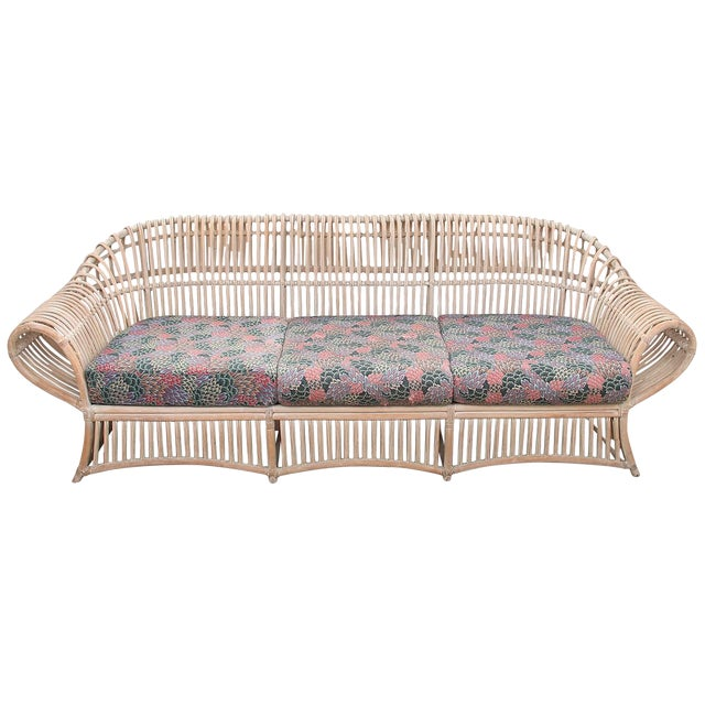 1960s Vintage Boho Chic Bamboo Sofa For Sale