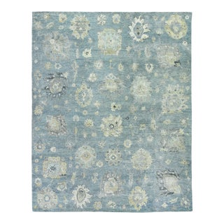 Exquisite Rugs Evie Hand Knotted Wool Light Blue & Multi - 9'x12' For Sale